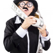 Person with roll of money — Stock Photo