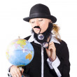 Stock Photo: Person examining world globe on white