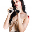 Zombie womwith binoculars — Stock Photo #26191673