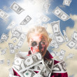 Stock Photo: Zombie with crazy money. Filthy rich millionaire