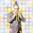 New years eve man celebrating at a countdown party — Stok fotoğraf