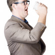 Dork man consuming hot drink in haste. Coffee rush — Stock Photo