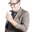 Thirsty businessman with coffee cup. Caffeine high — Stock Photo