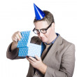 Isolated businessman in party hat. Business bonus — Foto de Stock
