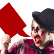 Zombie woman shouting out a dialogue bubble — Stock Photo