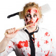 Dead chef with wooden spoon. Kitchen nightmare — Stock Photo