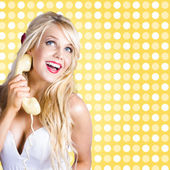 Retro phone beauty with glamour hair and makeup — Stock Photo