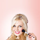Fresh faced makeup girl with cosmetic brush — Stock Photo