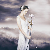Charming woman with romantic sentiment — Stockfoto