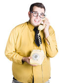Nervous man taking important phone call — Stock Photo