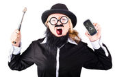 Angry woman breaking mobie phone — Stock Photo