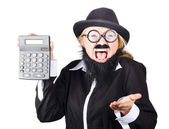Insane woman shouting and holding calculator — Stock Photo