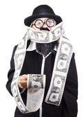Woman wrapped in money — Stock Photo