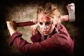 Sinister zombie axe murderer. A grunge death — Stock Photo