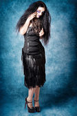 Gothic female fashion model. Elegant black outfit — Stock Photo