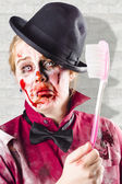 Zombie with big toothbrush. Fear of the dentist — Stock Photo