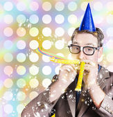 Amusement man in party hat celebrating a birthday bash — Stok fotoğraf