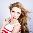 Fashion beauty girl. Beautiful woman long red hair — Stock Photo