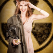 Military pin-up woman. Atomic female bombshell — Stockfoto