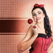 Sweet candy pinup girl with vintage toffee apple — Stock Photo