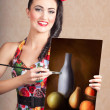 Fine art girl painting still life gallery artwork — Stock Photo