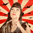 Retro asian pinup girl. War planes of revolution — Stock Photo