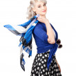 Stock Photo: Isolated caucasiwomwith pinup fashion style