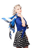 Isolated caucasian woman with pinup fashion style — Stock Photo
