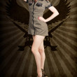 Stock Photo: Attractive blond pin-up army girl. Military salute