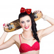 Stock Photo: Cute pinup skater girl in punk glam fashion