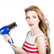 Pretty lady getting a blow dry hair style — ストック写真