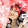 Photographer woman with camera. Photography love — Stock Photo