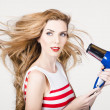 Foto Stock: Beautiful model hair styling long red hairstyle