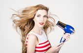 Beautiful model hair styling long red hairstyle — Stock fotografie