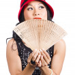 Stock Photo: Fof Asia. Stylish Chinese lady with oriental fan