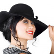 Magnificent woman with smile in fashionable sunhat — Stock Photo