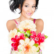 Woman with flower arrangement. Valentines day gift — Stock Photo