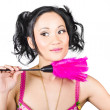 Isolated hotel maid thinking with feather duster — Stock Photo