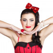 Young beautiful caucasian pin up woman posing — Foto de Stock