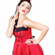 Beautiful young pin-up woman in retro fashion — Stock Photo