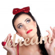 Isolated pin up womwith dream in grasp — Stock Photo #27784903