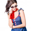 happy smiling young pinup girl in rockabilly style — Stock Photo