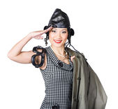 Vintage female pin-up fighter pilot saluting yes — Stock Photo