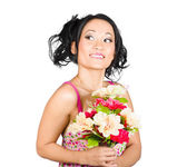 Beautiful girl with colourful bunch of flowers — Stock Photo