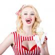 Retro pin-up poster girl with ice cream — Stock Photo
