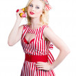 Pin up woman ordering organic food on banana phone — Stock Photo