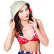 Stock Photo: Smoking hot American military pin-up girl