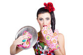 Surprised pinup woman cook — Stock Photo