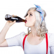 Fifties pin-up promo woman drinking soft drink — Stock Photo #28341267