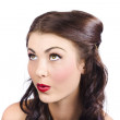 Cosmetics girl looking up. Pinup makeup concept — Stock Photo